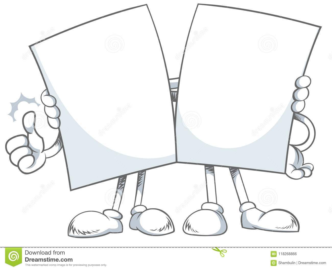 Two Blank Papers Sheet Giving A Hug Stock Illustration