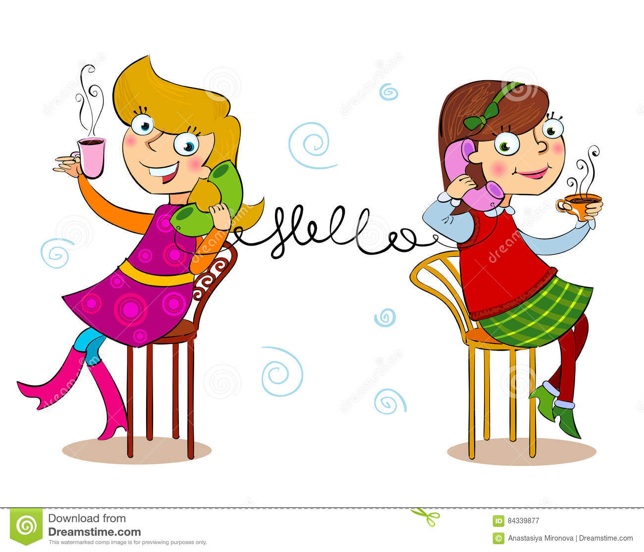 Two Cartoon Girls Talking Telephone Stock Vector