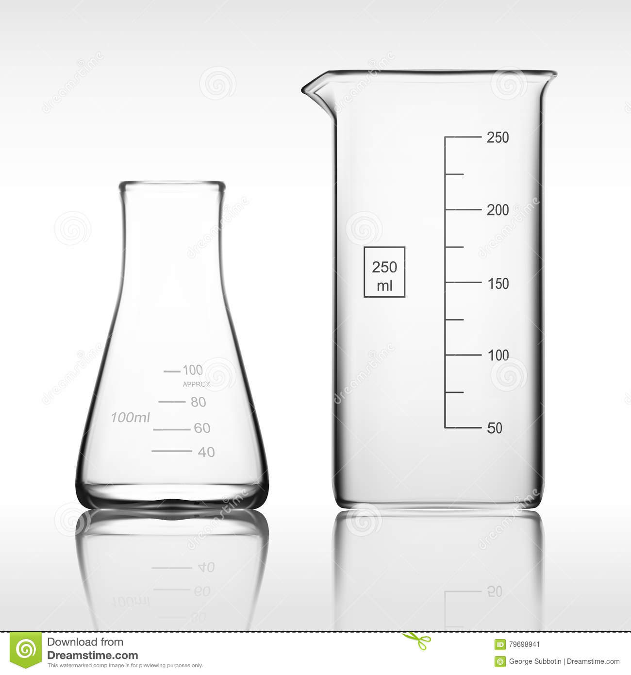 Two Chemical Laboratory Glassware Or Beaker Glass Equipment Empty Clear Test Tube Stock Image
