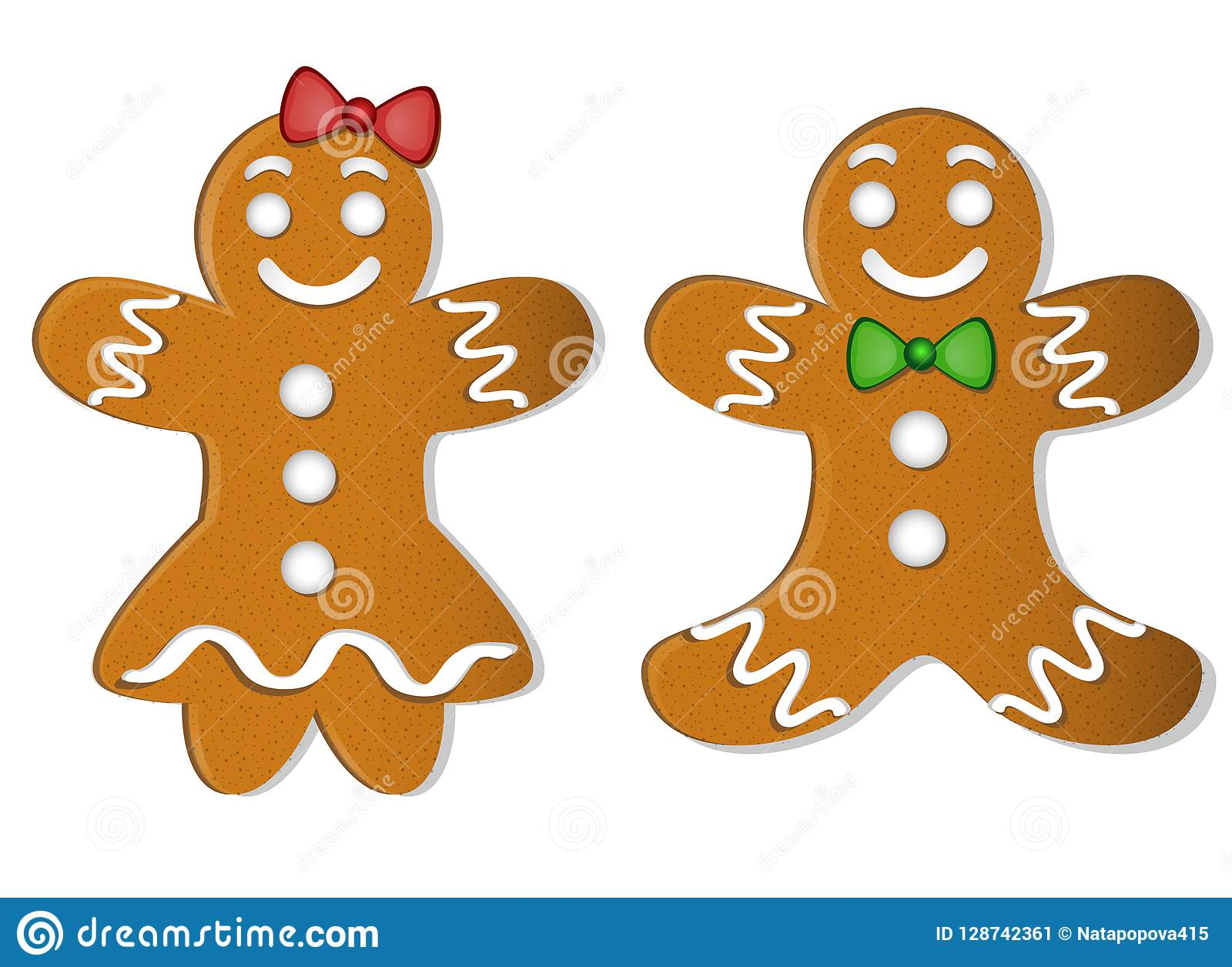 Two Christmas Gingerbread Boy And Girl With Bows Stock