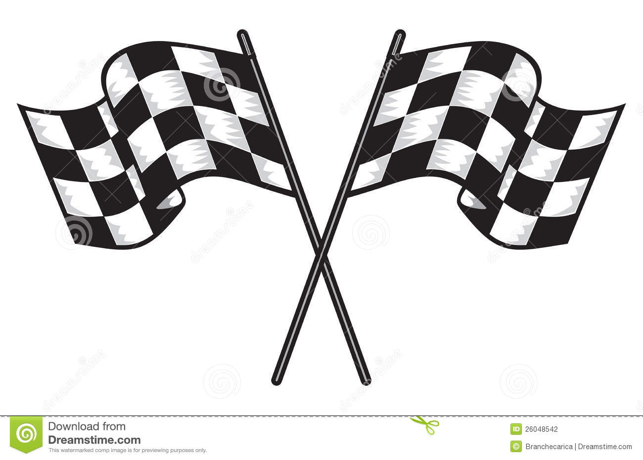 Two Crossed Checkered Flags Stock Illustration