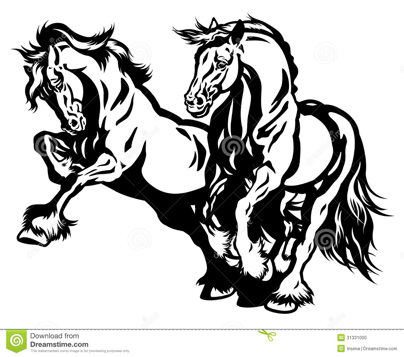 Two Draft Horses Black White Stock Vector