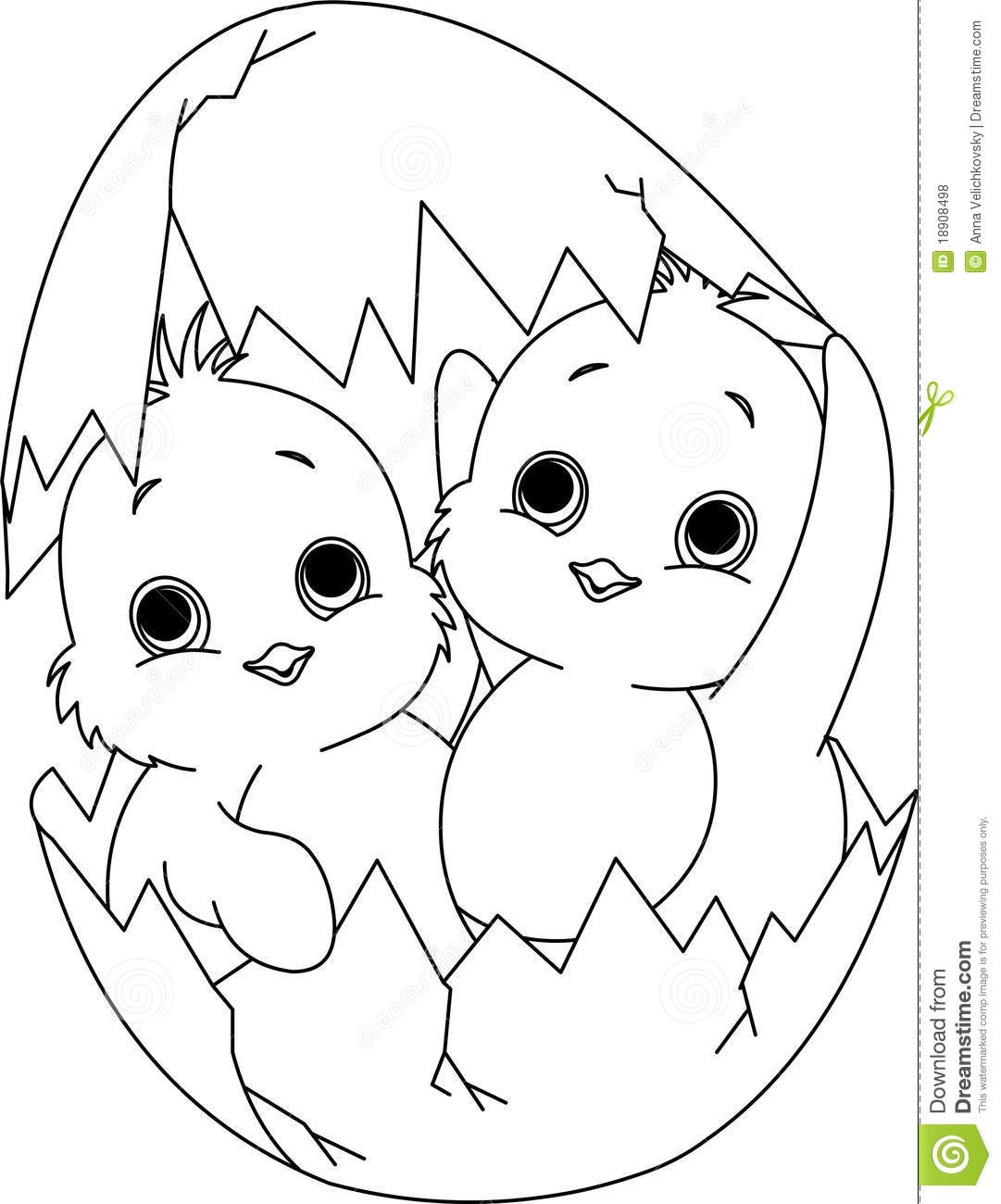 Two Easter Chickens In The Egg Coloring Page Stock Vector