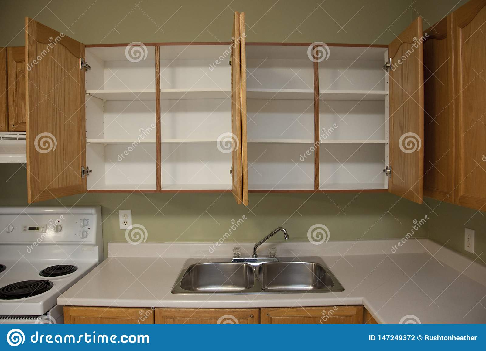 https www dreamstime com two empty cupboards kitchen sink counter cabinets above home apartment image147249372
