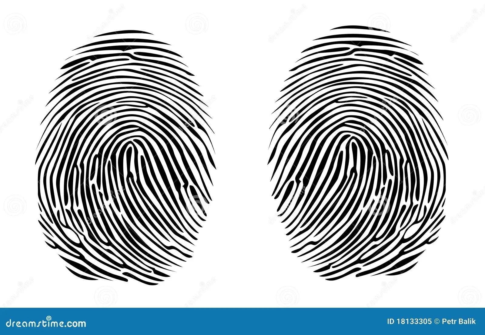Two Fingerprints Stock Illustration Illustration Of