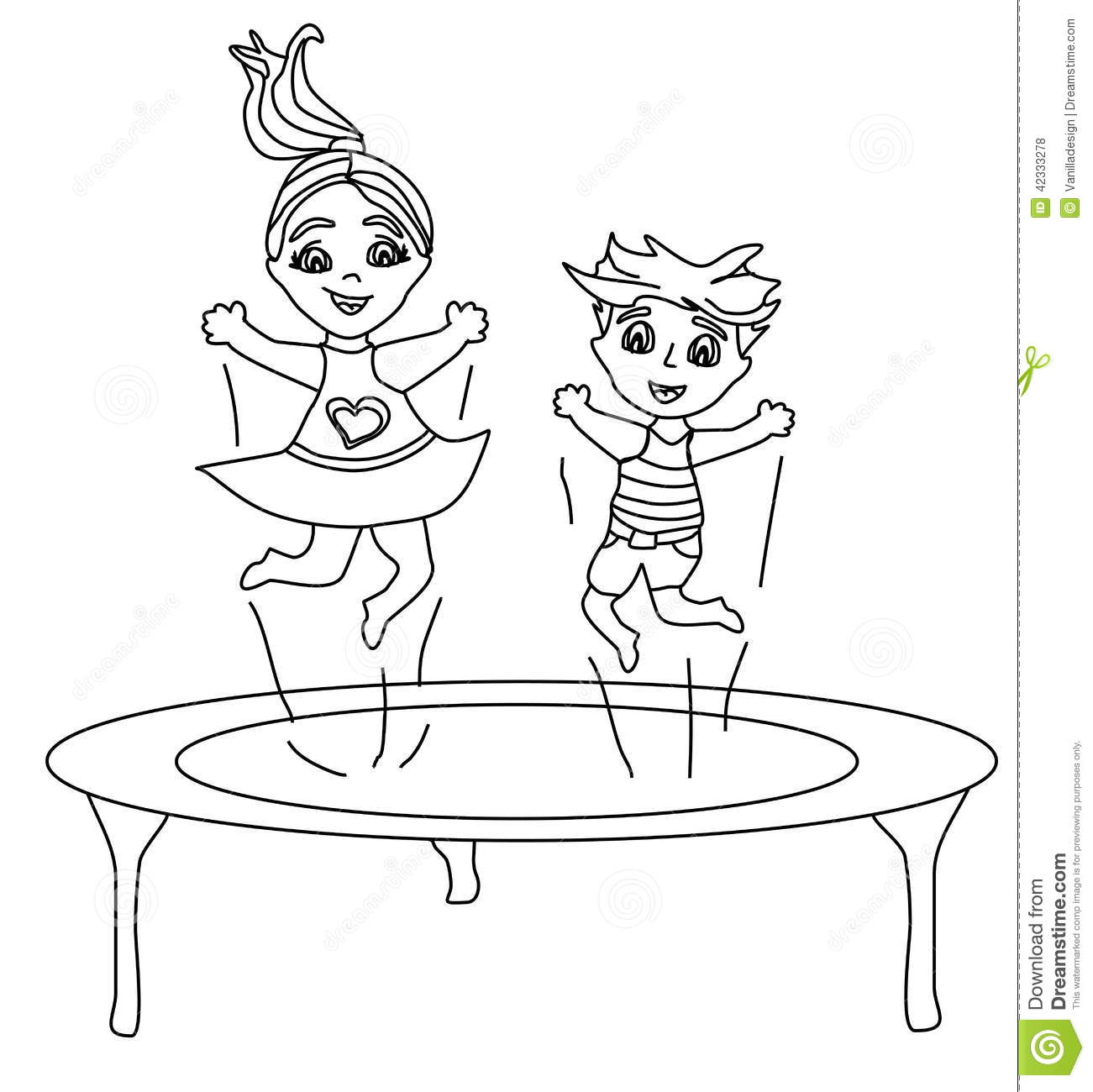 Two Funny Kids Jumping On A Trampoline Stock Vector