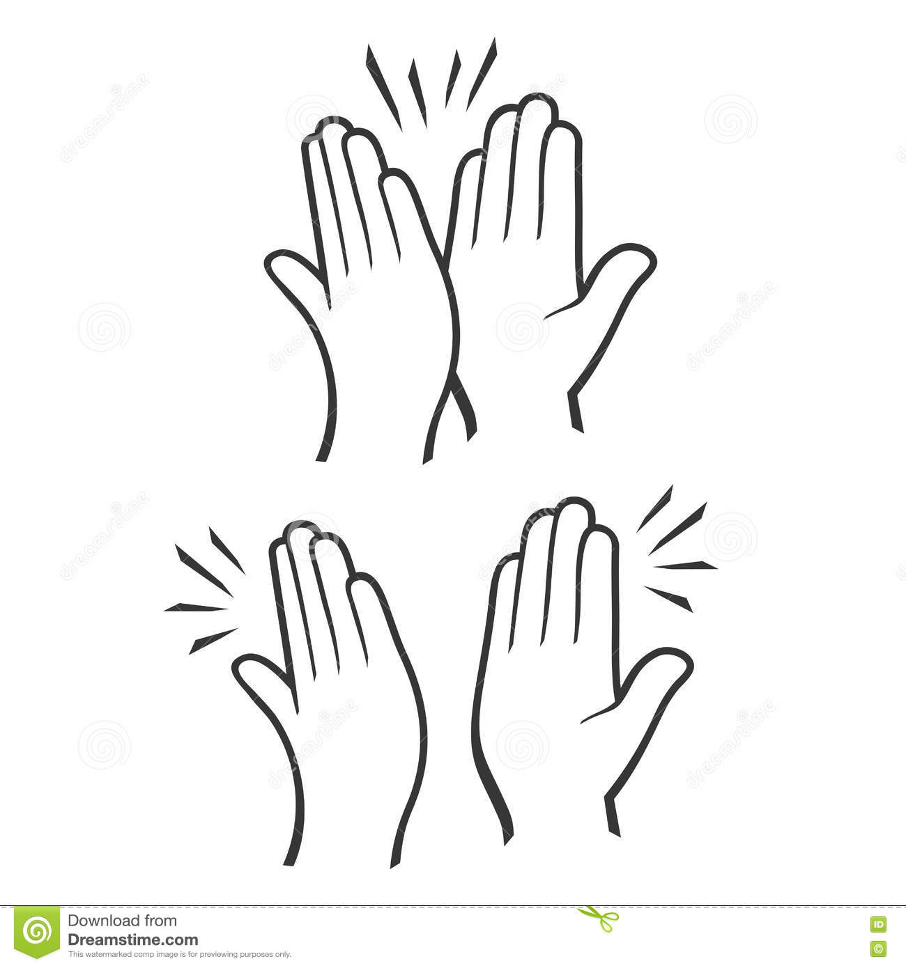 Two Hands Giving A High Five Icons Set Vector Stock