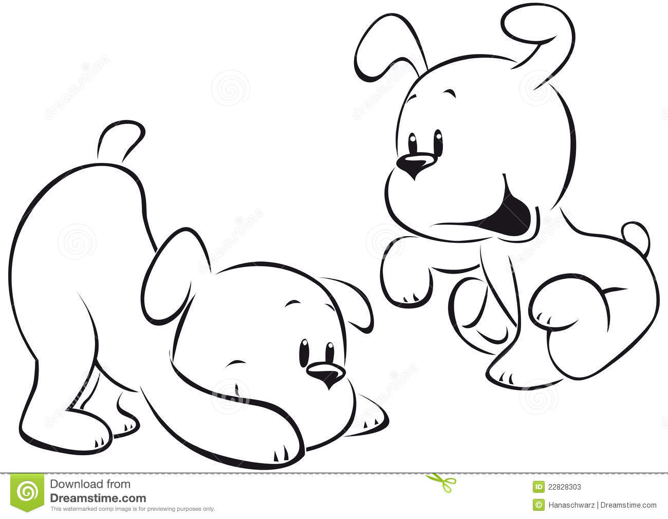Two Puppies Sketch Stock Photos