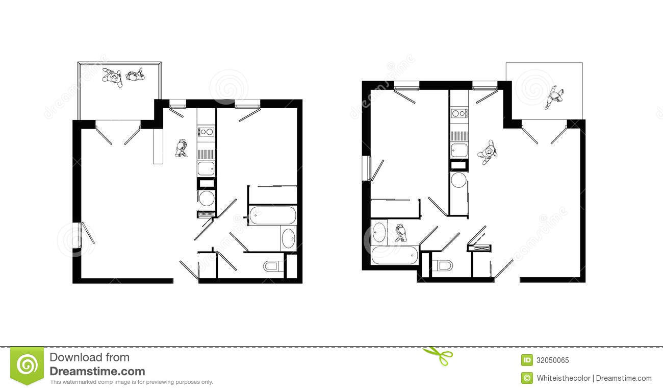 Two Rooms Apartment Plans Set Stock Illustration