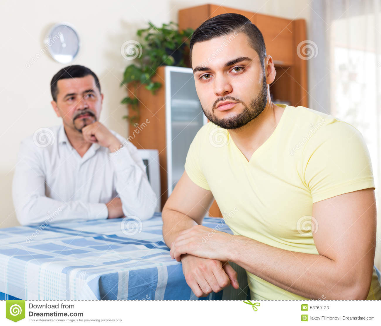 Two Serious Men Having Conflict Stock Image