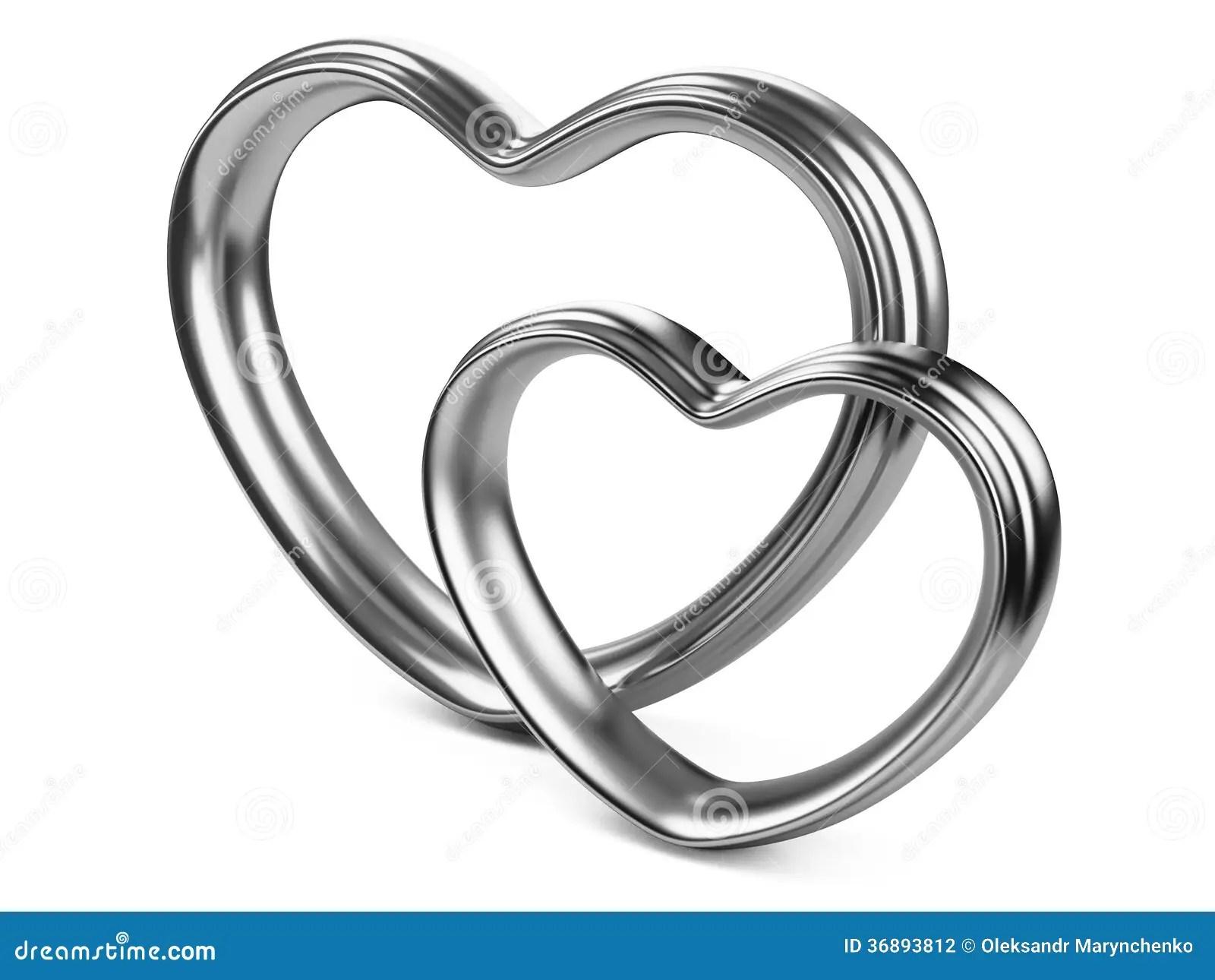 Two Silver Hearts Shape Stock Illustration Illustration