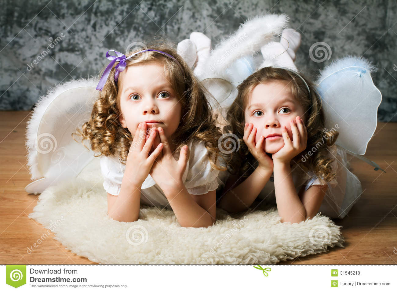 Two Sisters With Angel Wings Royalty Free Stock Photos Image 31545218