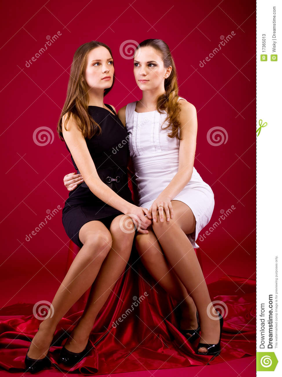 Two Sisters In Black And White Dress Stock Photos Image