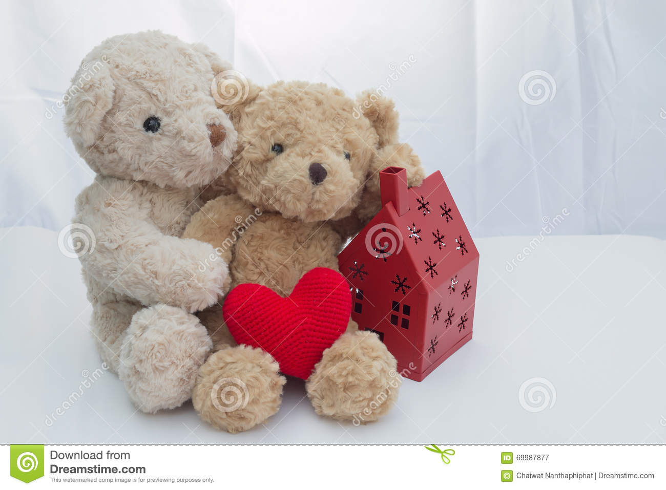 Teddy Bears With Red Heart Stock Photo