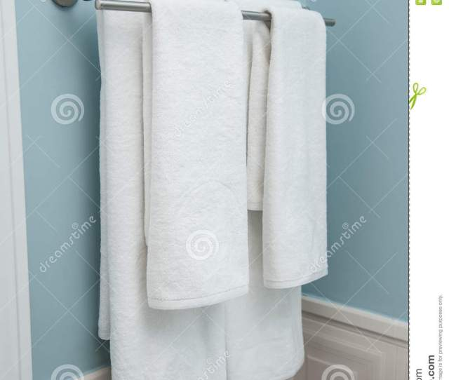 Two Towels Hanging On The Clothes Line Clean White Towels On A Hanger White Towels In Bathroom Home Bathroom Towels On A Hanger Prepared To Be Used