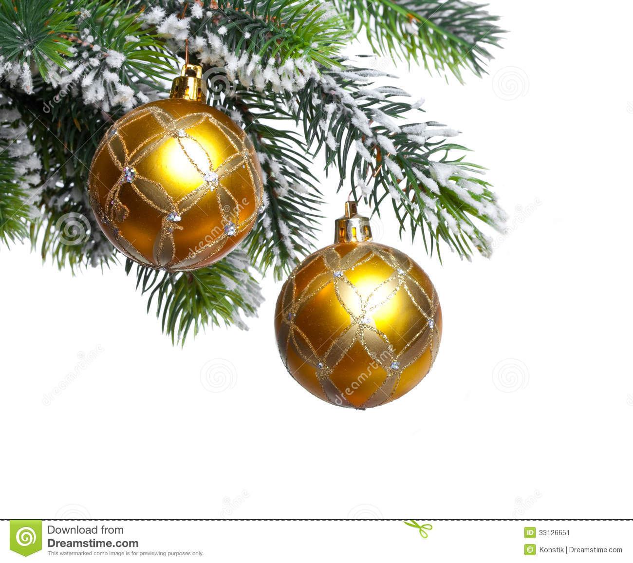 Two Yellow New Years Balls And Snow Covered Branches Of A