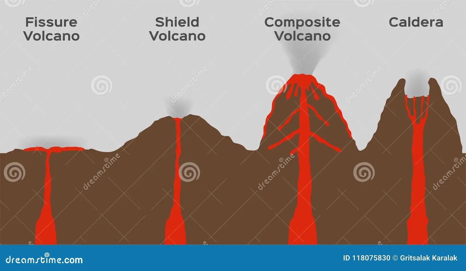 Type De Volcan Infographic Vecteur Compose Et Caldeira De