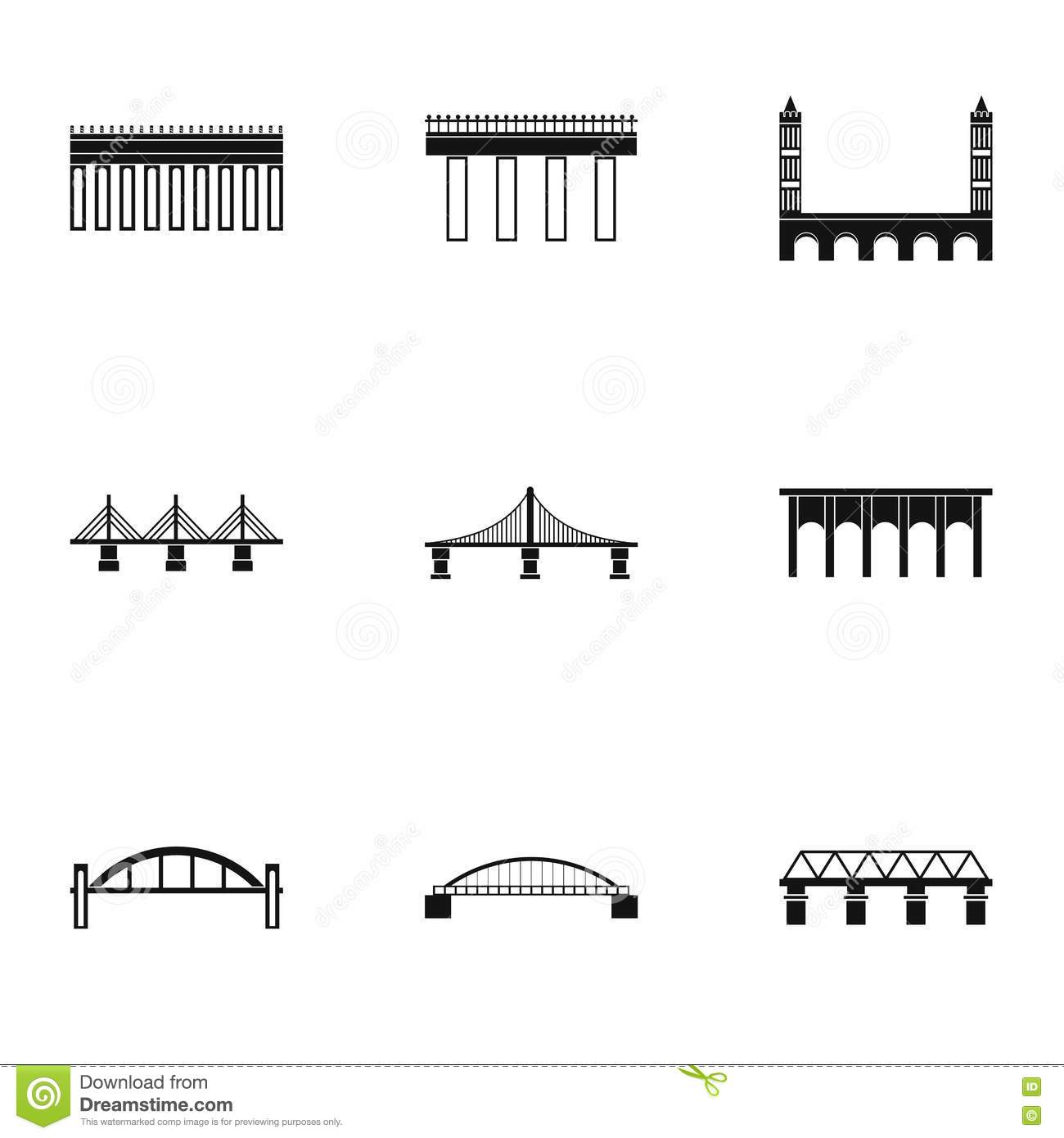 Bridges Icons Set Stock Photography
