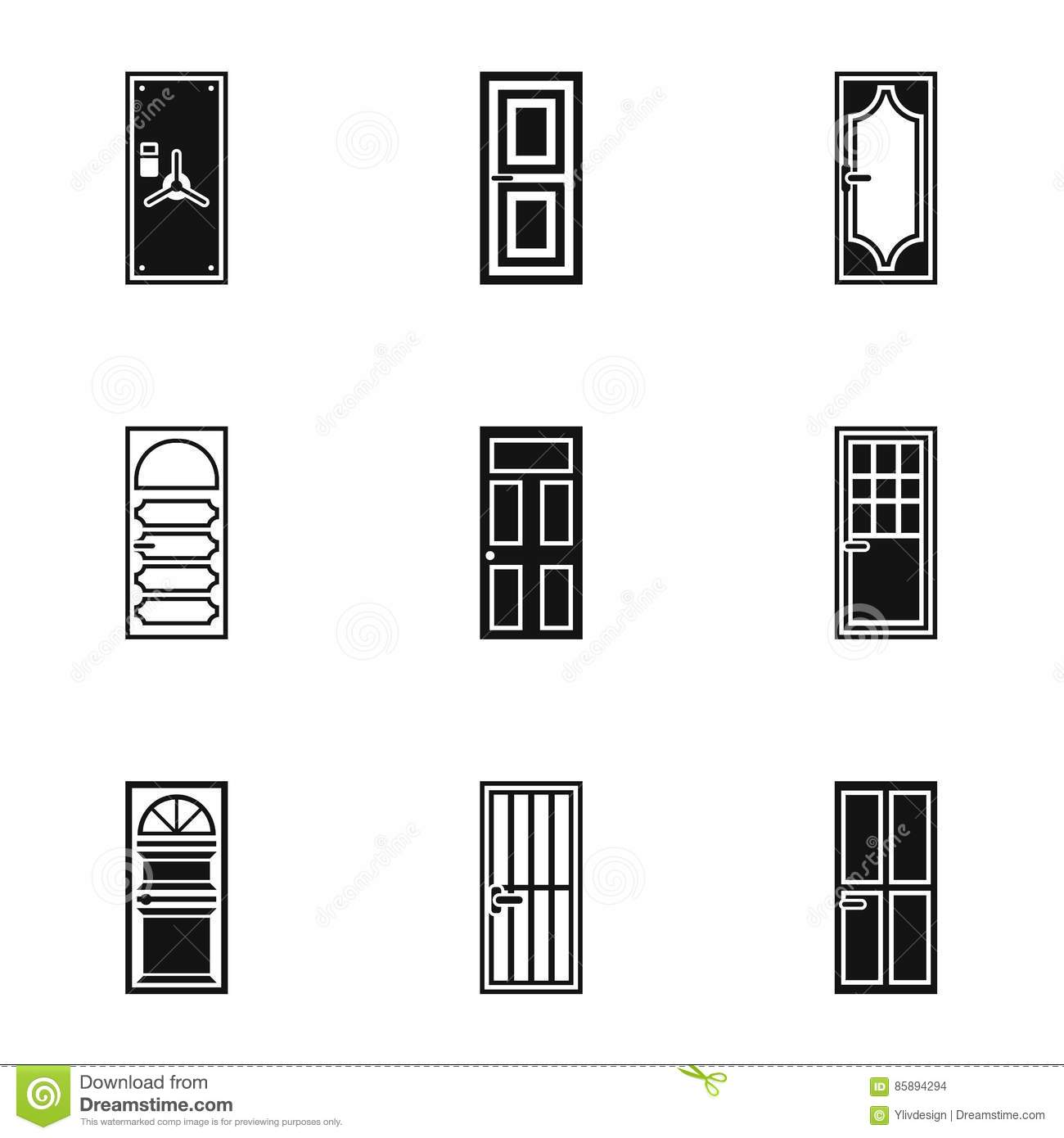 Types Of Doors Icons Set Simple Style Stock Vector