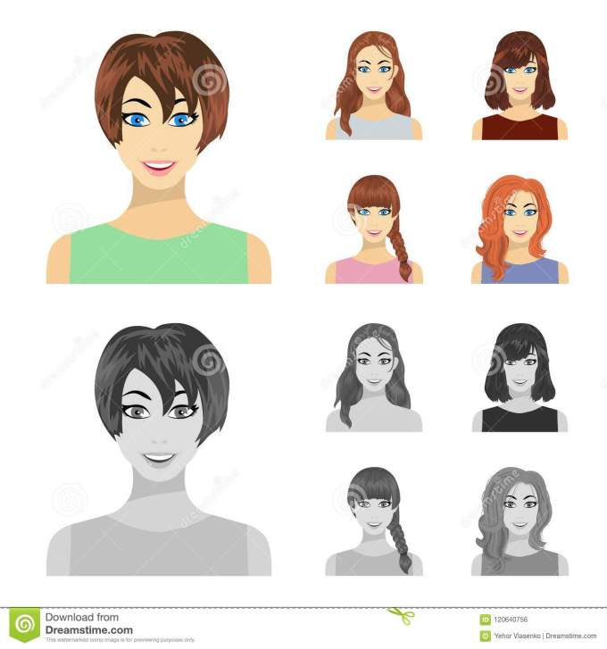 types of female hairstyles cartoon,monochrome icons in set