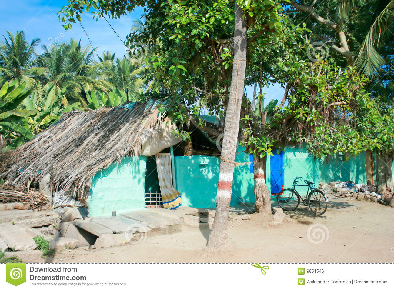 Typical Indian Village House In Hampi Stock Photo Image