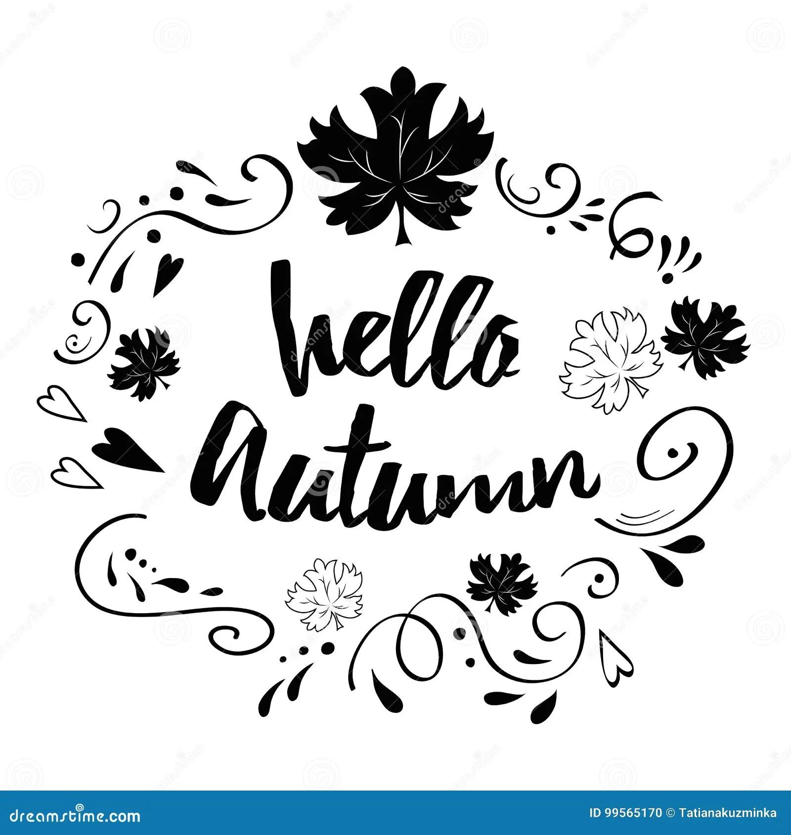 Typographic Banner With Phrase Hello Autumn In Black