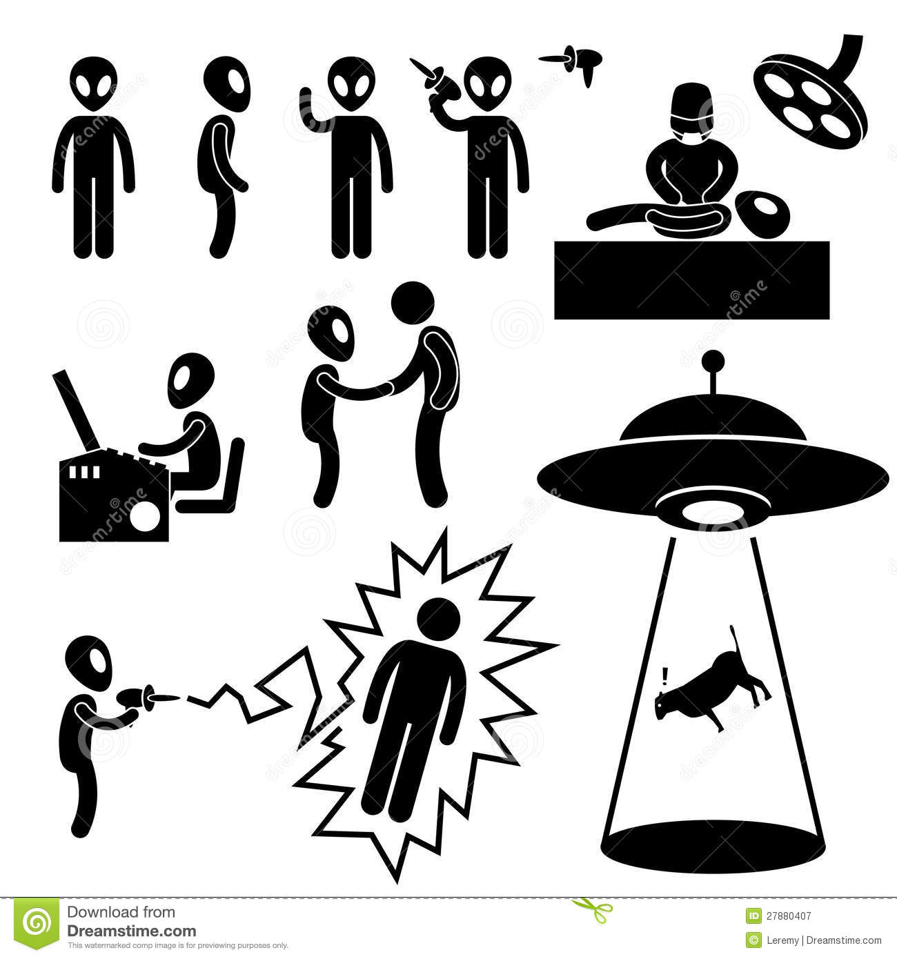 Ufo Alien Invaders Pictogram Royalty Free Stock