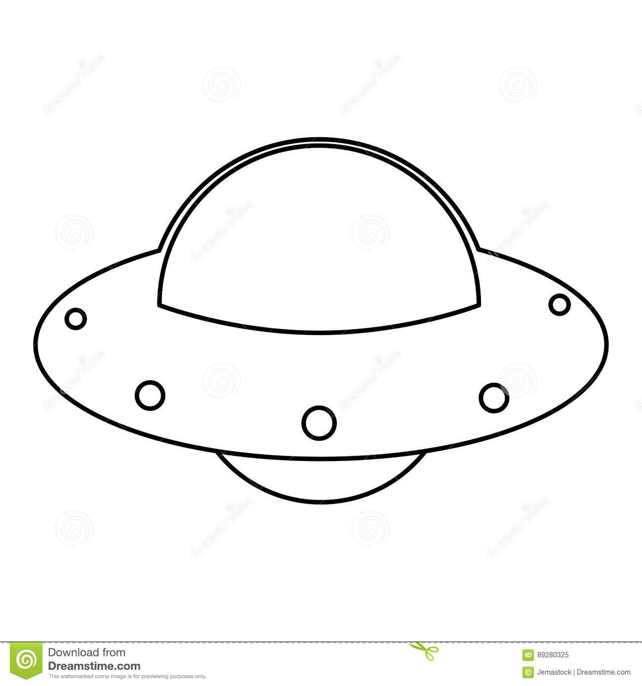 Ufo Spaceship Fly Image Outline Stock Illustration