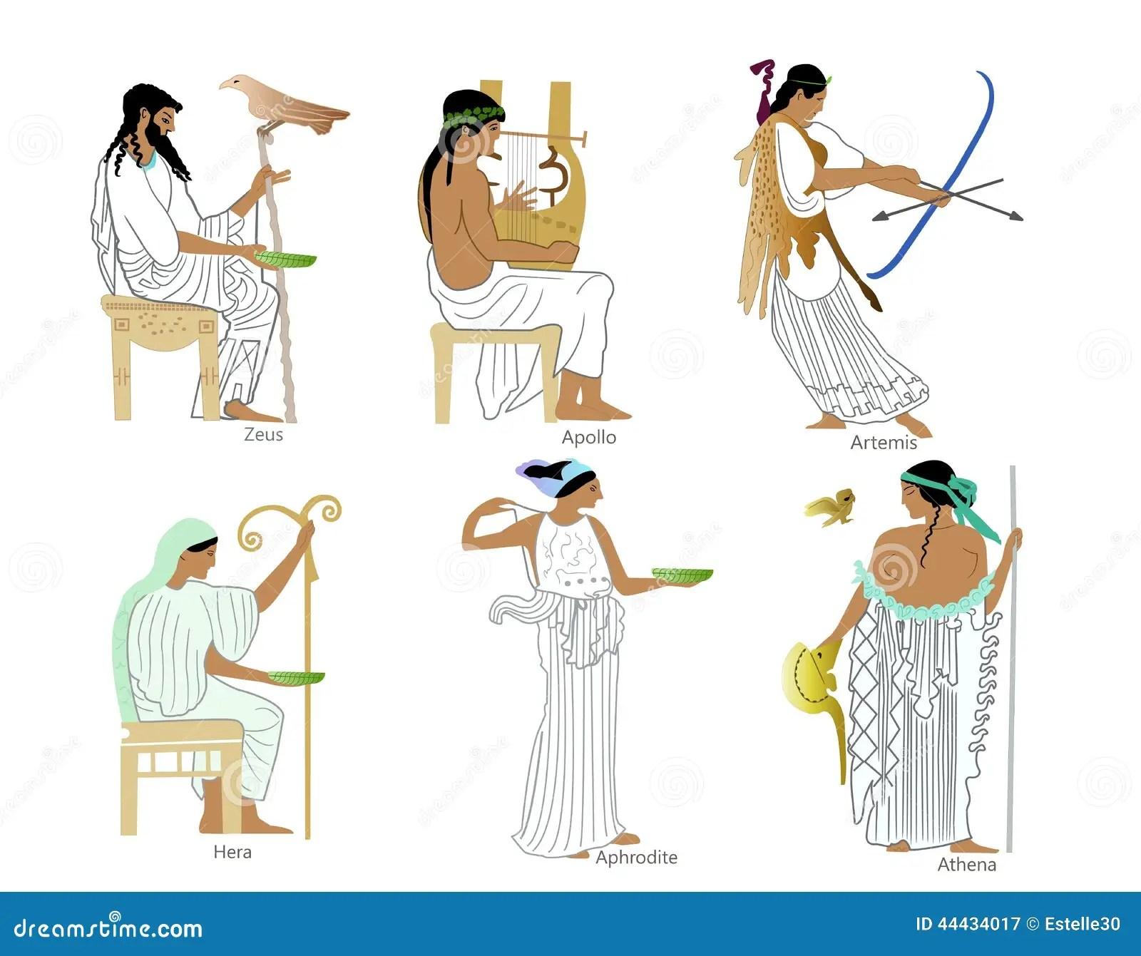 Um Grupo De Deuses E De Deusas Do Grego Classico