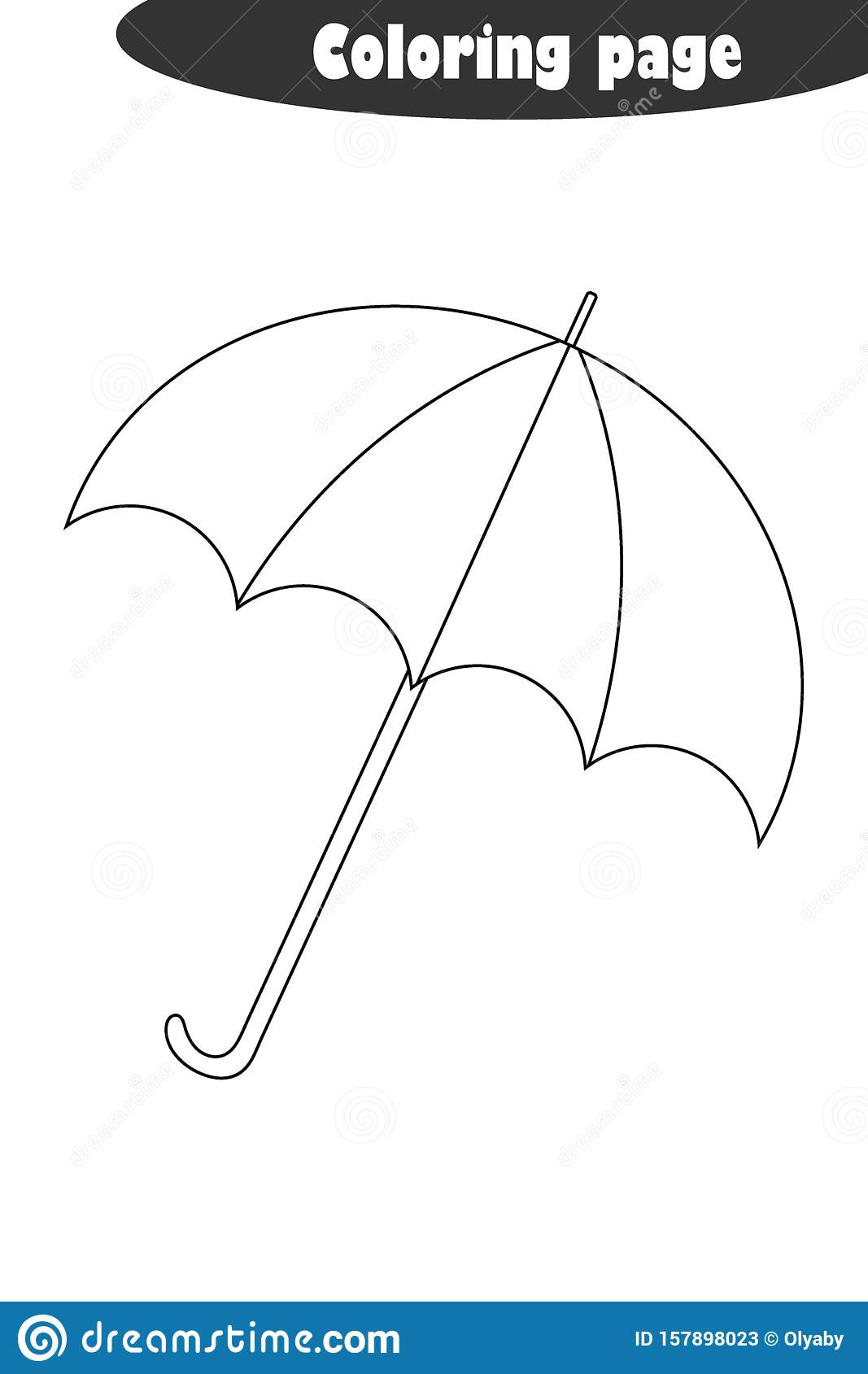 Umbrella In Cartoon Style Autumn Black White Coloring