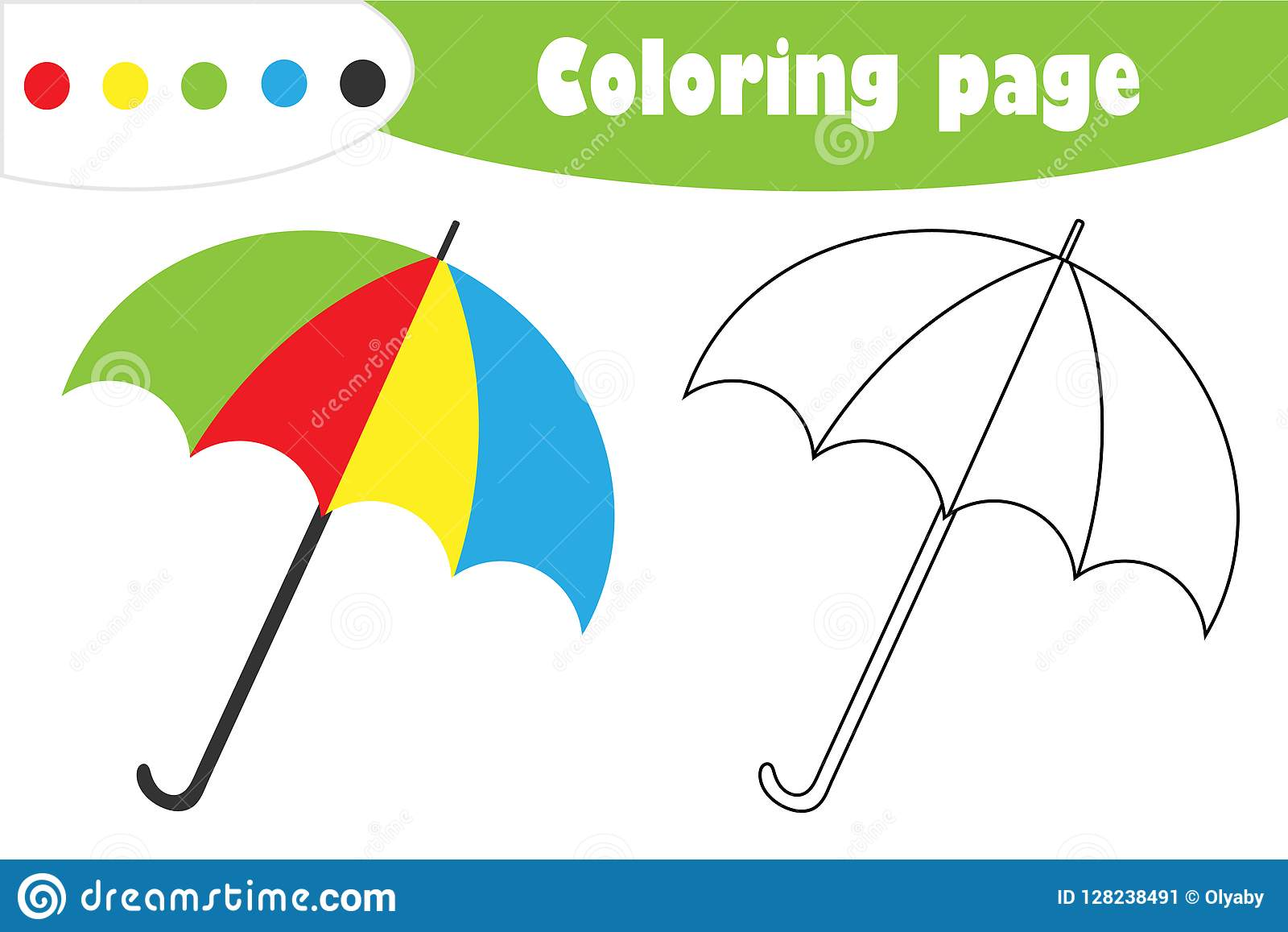 Umbrella In Cartoon Style Autumn Coloring Page Education
