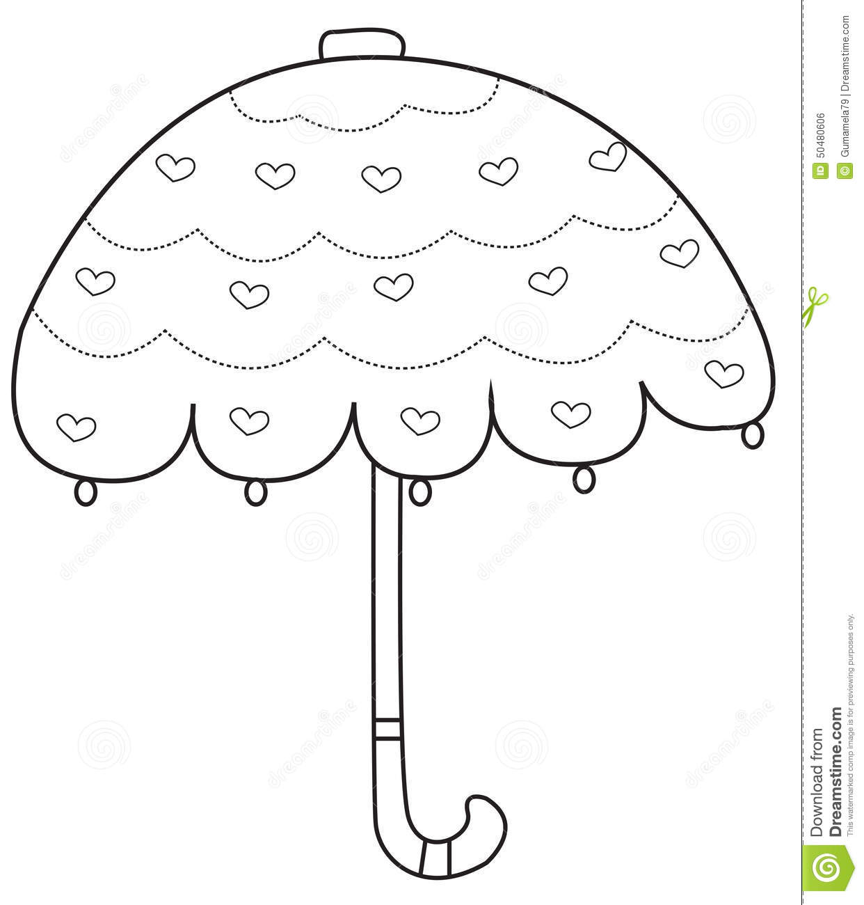 Umbrella Coloring Page Stock Illustration Illustration Of