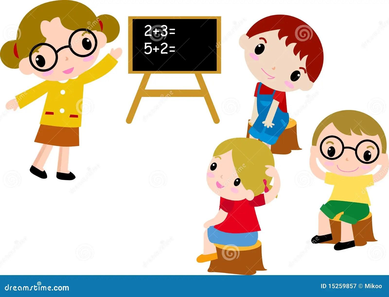 Un Groupe De Gosses D Ecole Des Maths Illustration De