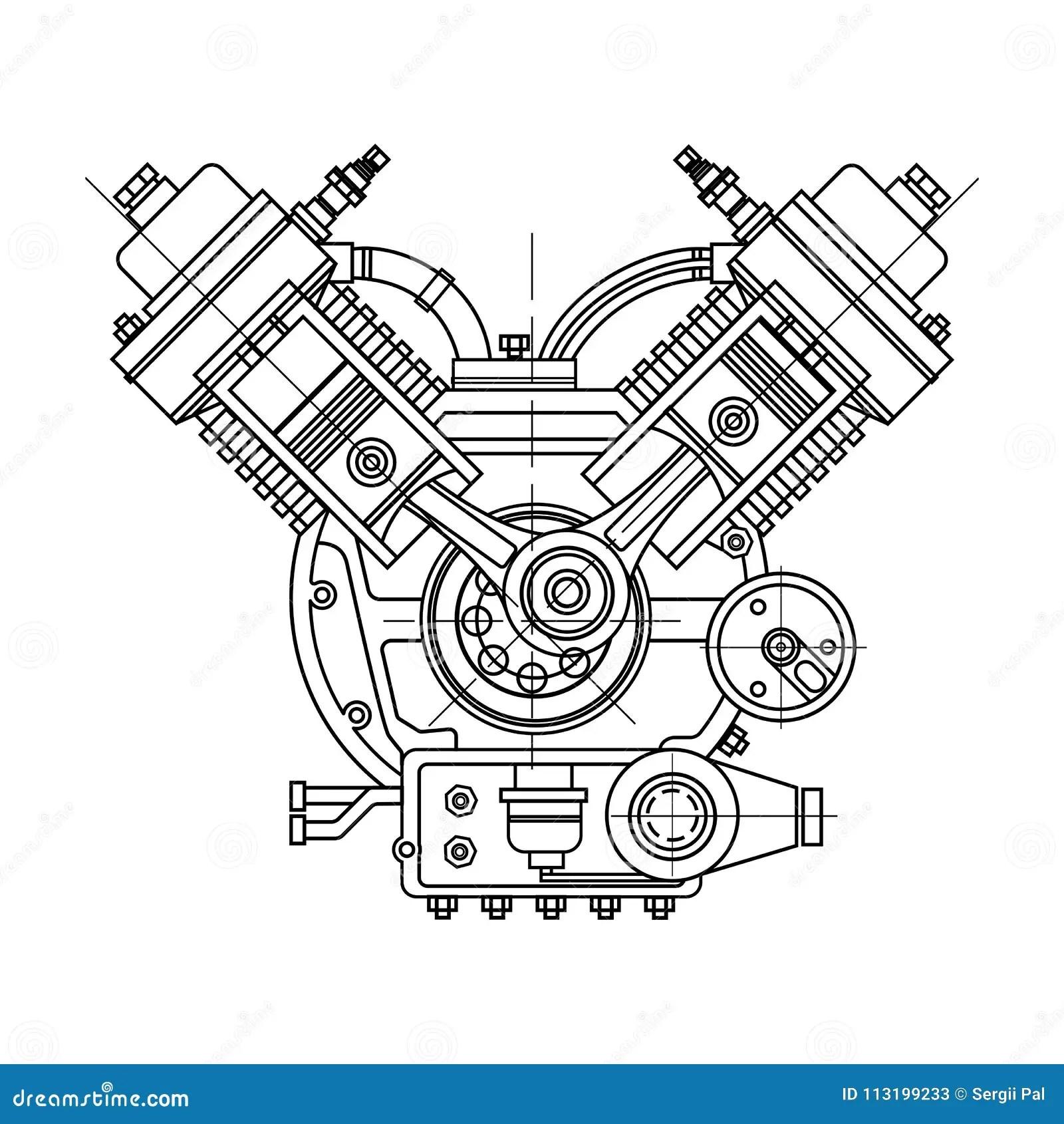 Un Motor De Combustion Interna El Motor Del Dibujo De La
