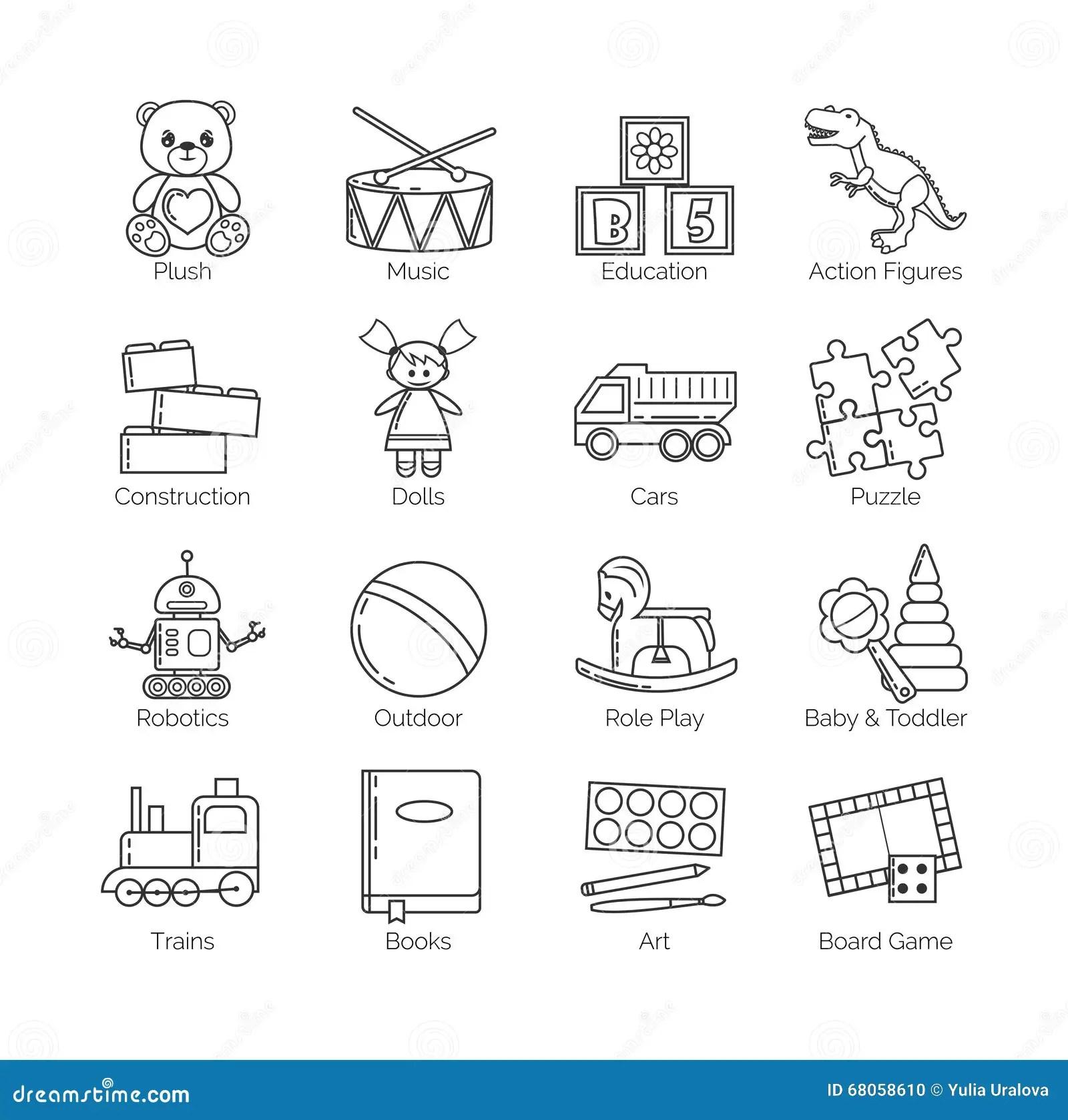 Una Coleccion De Linea Fina Minimalistic Iconos Para Las