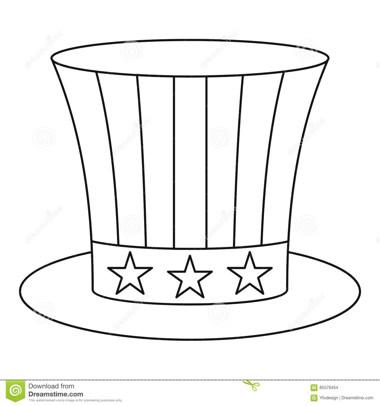 Uncle Sam Hat Icon Outline Style Stock Vector