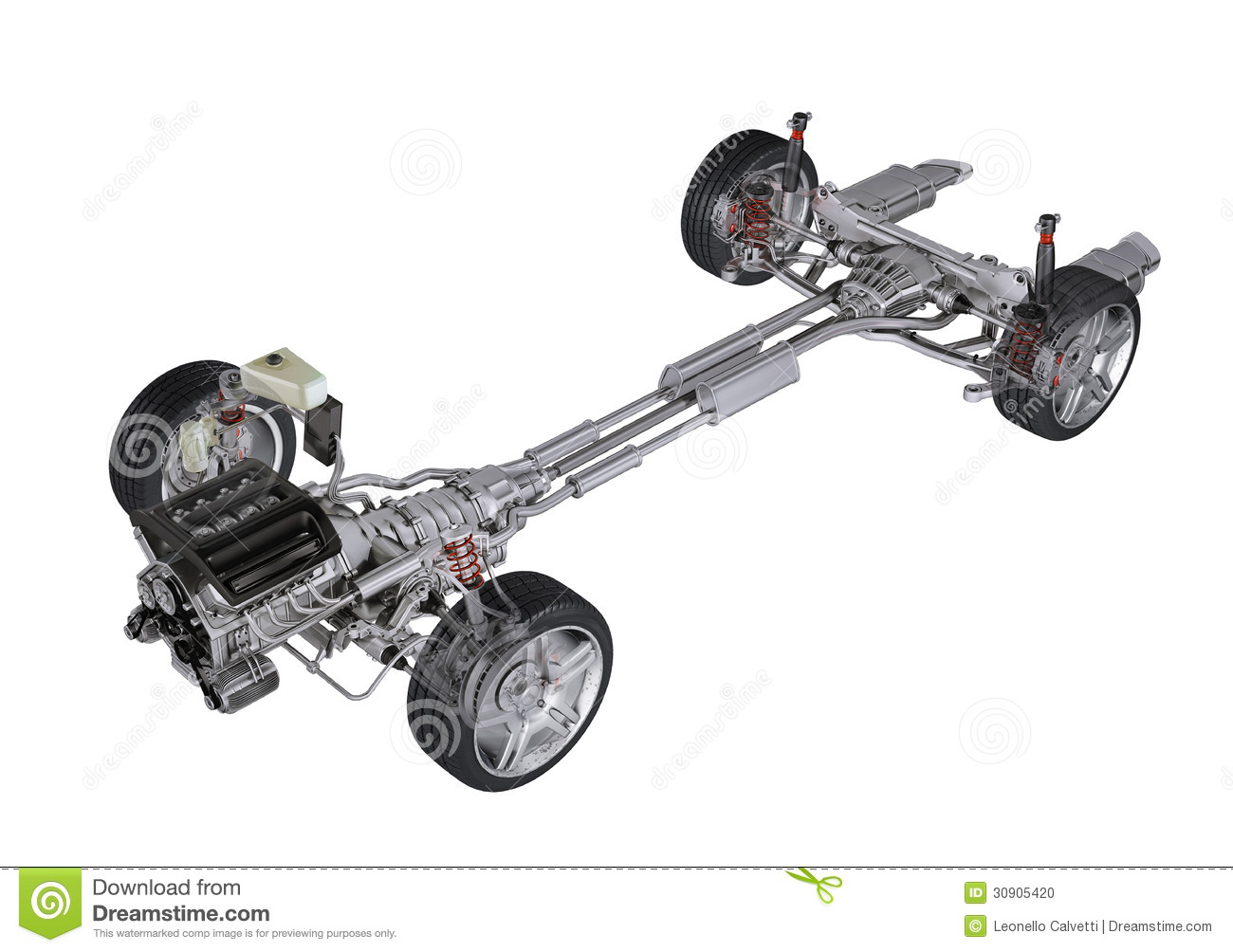 Under Carriage Technical 3d Rendering Of A Sedan