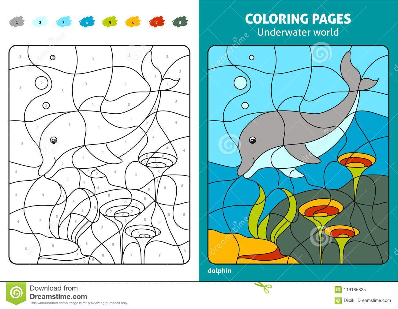 Underwater World Coloring Page For Kids Dolphin Stock