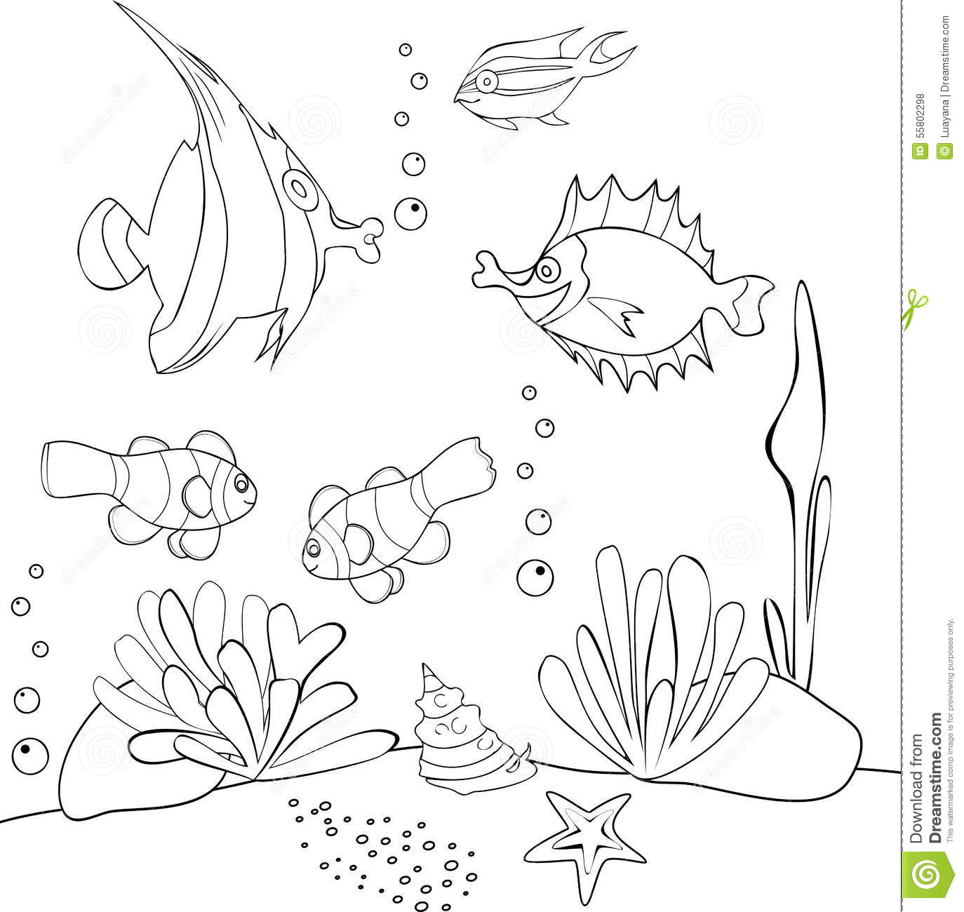 Underwater World Stock Vector Illustration Of Colouring
