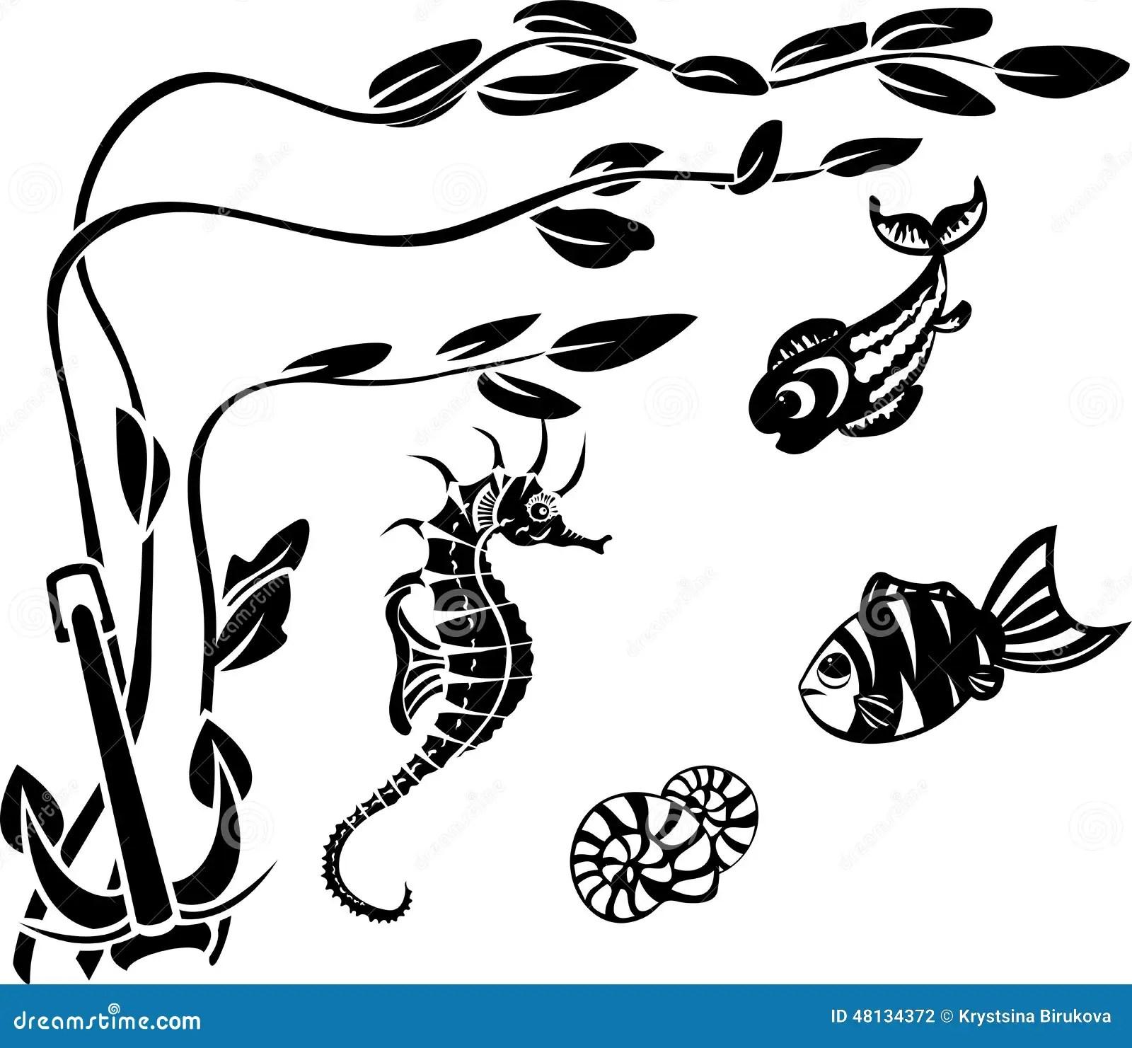 Underwater World Stencils Stock Vector