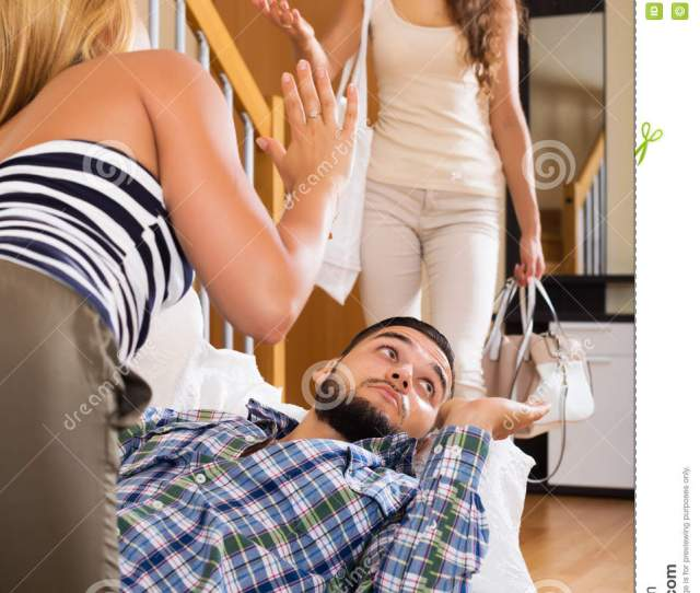 Love Triangle Unhappy Husband Upset Wife And Lover At Home Interior