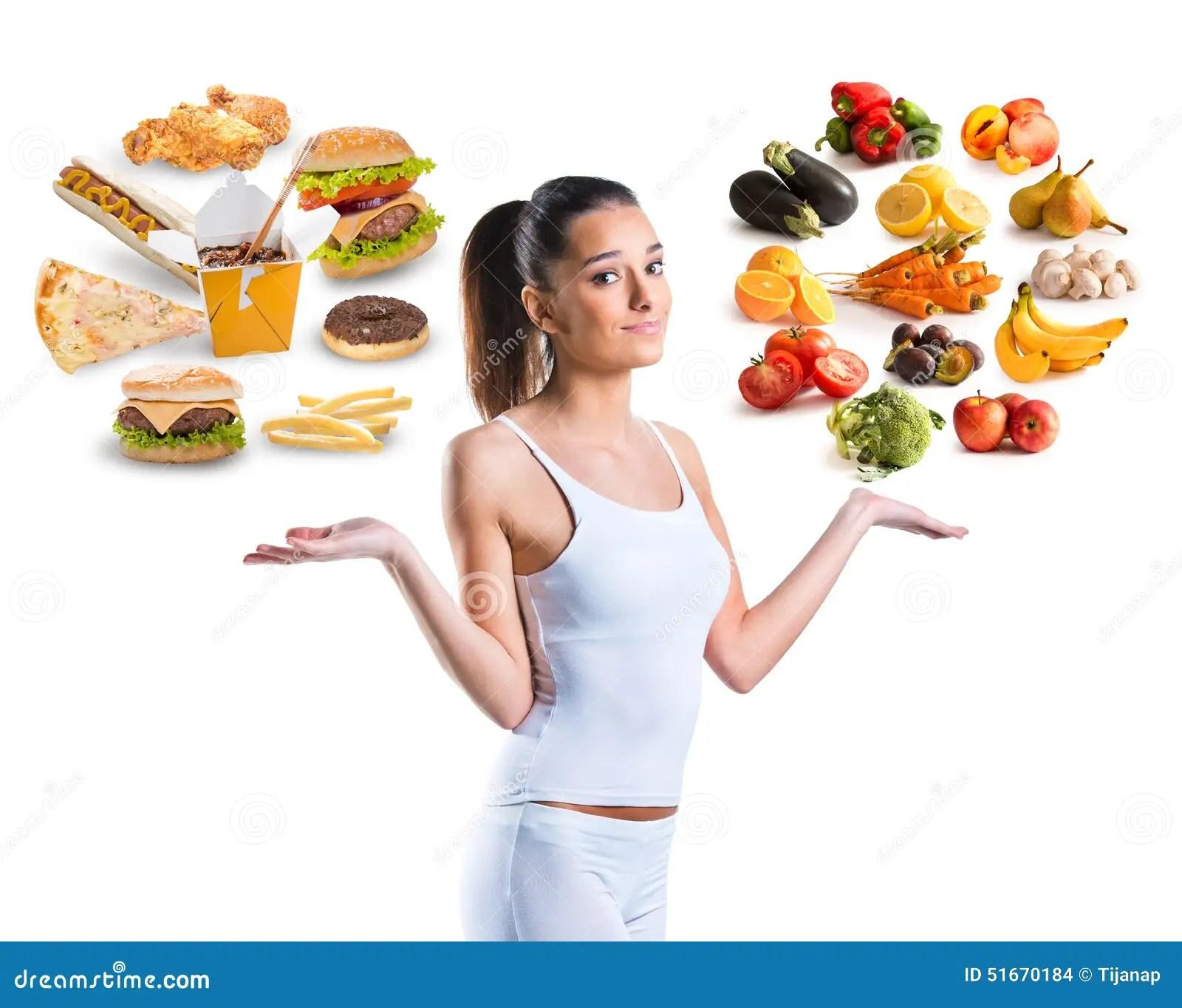Unhealthy Vs Healthy Food Stock Photo Image Of Beauty