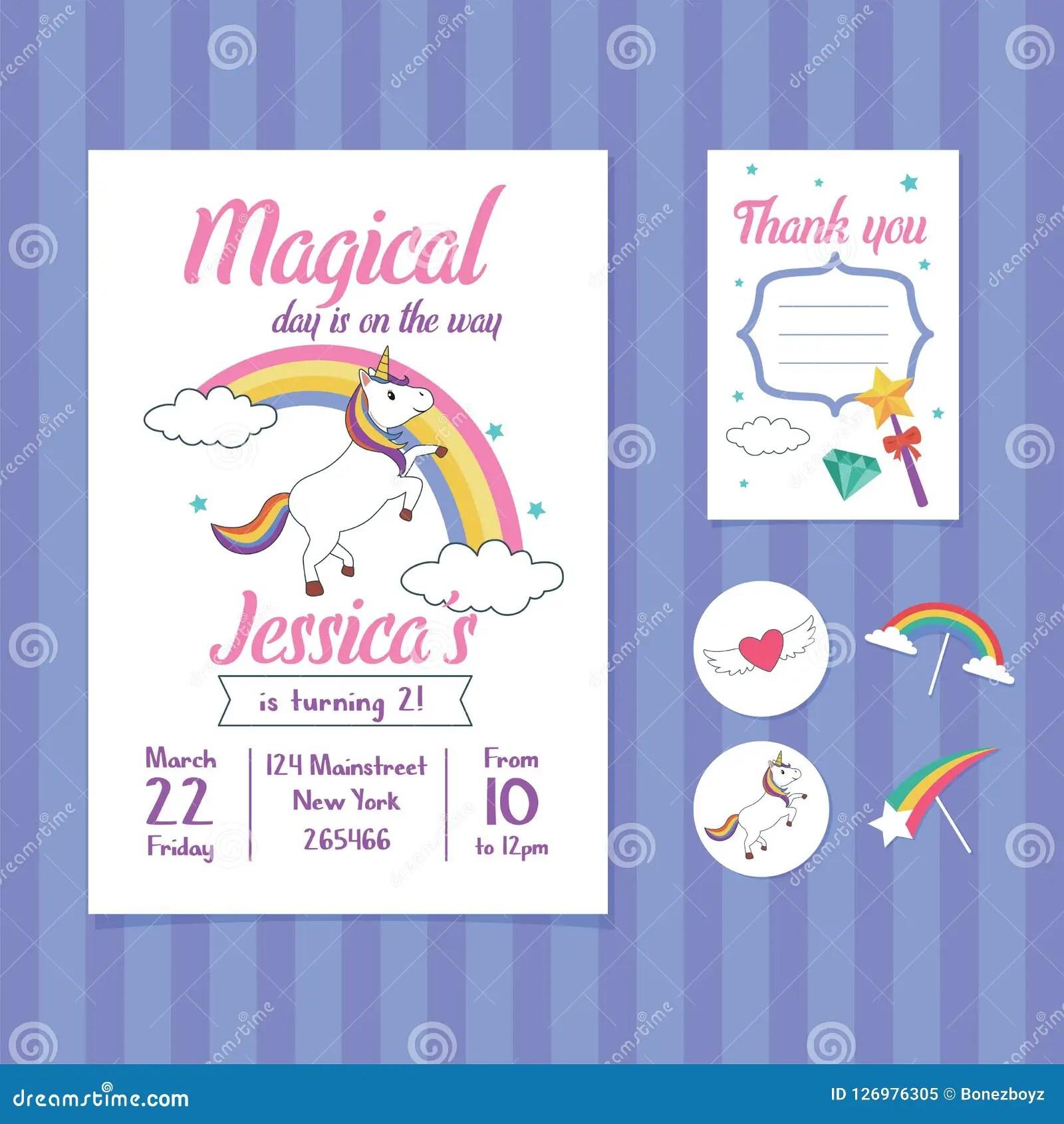 https www dreamstime com unicorn birthday invitation card template unicorn rainbow illustration birthday party invitation cute unicorn image126976305