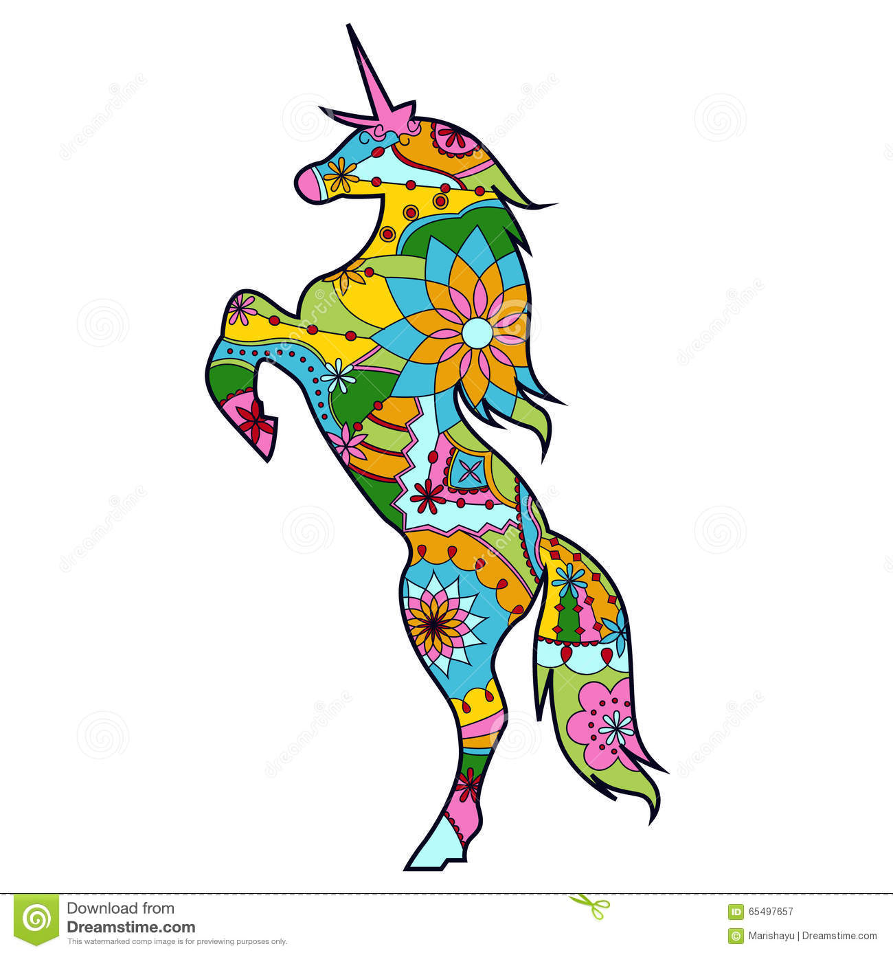 unicorn colorful for children stock vector image 65497657