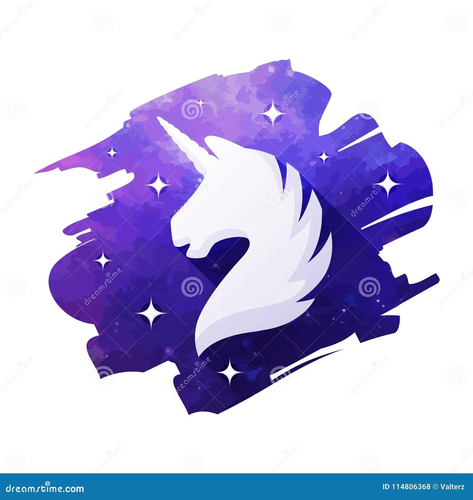 Unicorn Head Vector Illustration Isolated On White