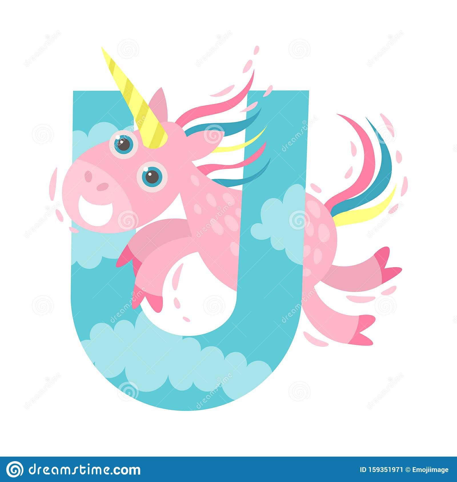 Unicorn And Letter U Vector Illustration On A White