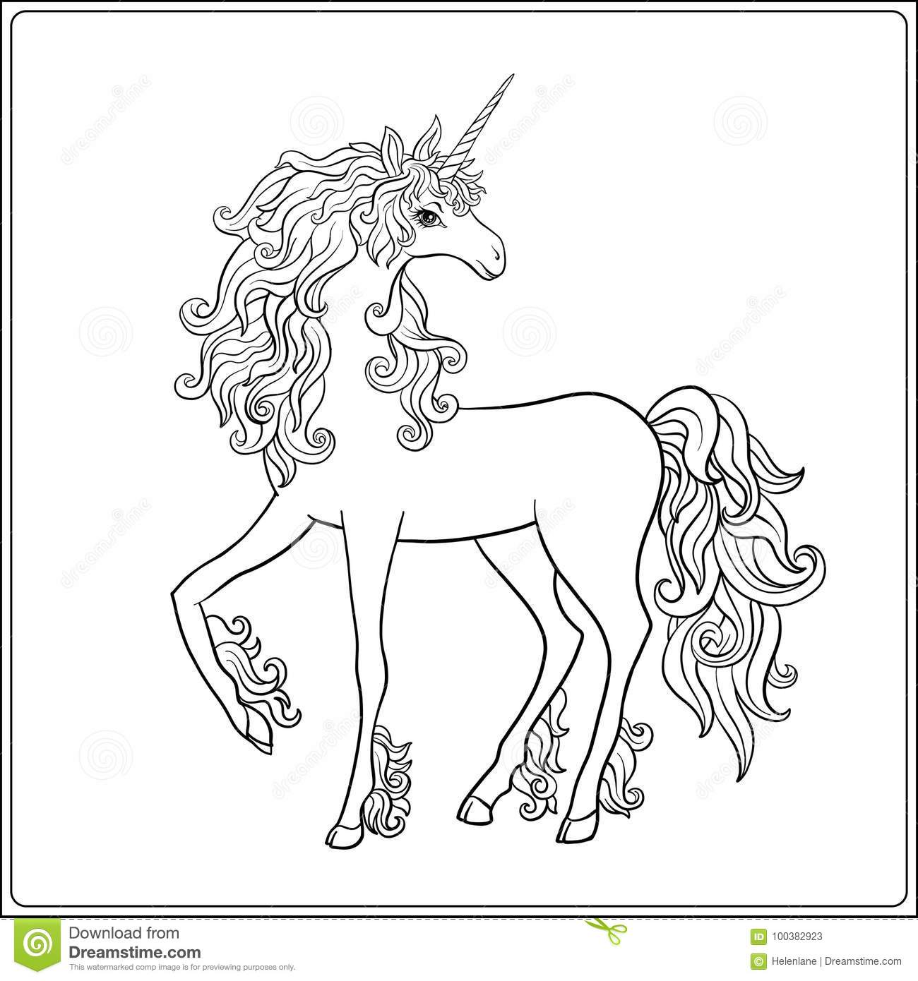 Unicorn Outline Drawing Coloring Page Coloring Book For