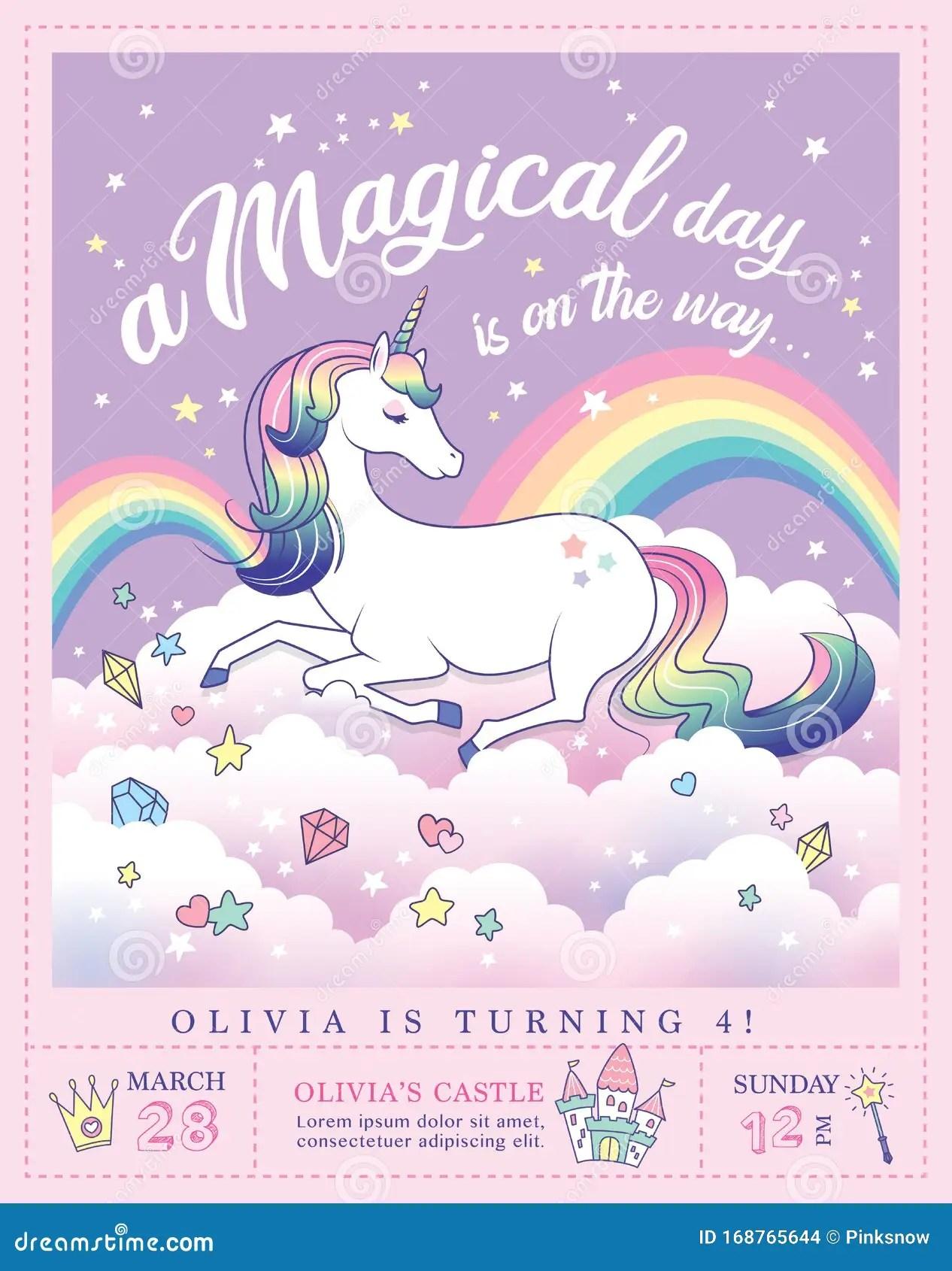 https www dreamstime com unicorn party invitation card birthday template beautiful rainbow background image168765644