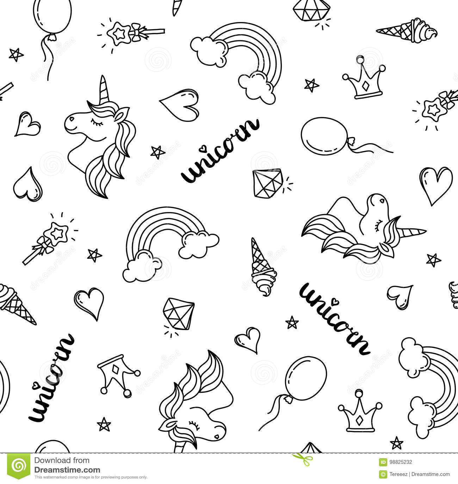Unicorn Rainbow And Hearts Seamless Pattern Hand Drawing