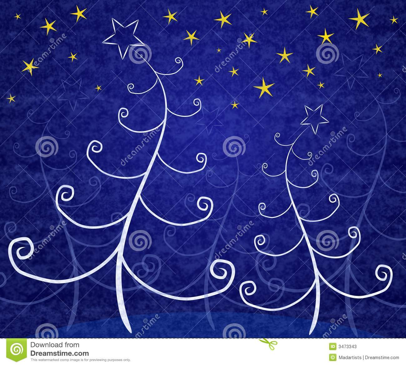 Unique Christmas Trees Blue Stock Illustration Image